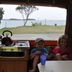 Camping in the camper trailer at Sullivans Bay