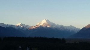 View of Mt Cook from our campsite at Glen Tanner
