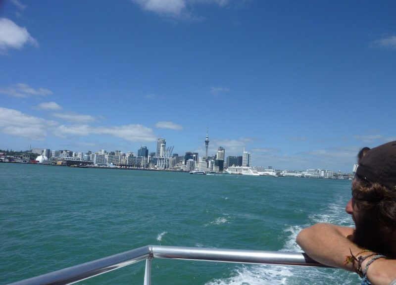 Looking back at Auckland from the Deveonport Ferry
